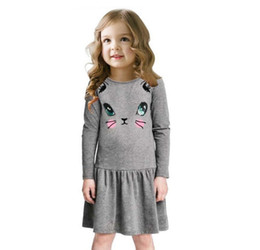 Wholesale Cute Winter Outfits For Girls - 3colors Girls cute cat face print long sleeve dress infants kids solid color animal printing dress children's sweet casual outfits for 1-5