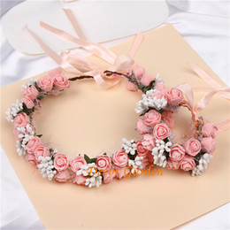 boho flower wreath wedding hair Promo Codes - Women Beach Headband Floral Hair Lady Girls Bride Boho Flower Headband Floral Head Wreath Garlands Bohemia Beach Flower Hair Bands