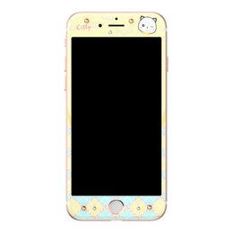 Wholesale Cartoon Screen - 3D Curved Bling Hello Kitty Cartoon Tempered Glass For Iphone 7 7 Plus Soft Side cover Screen Protector with Crytal back protector
