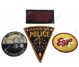 Wholesale Large Iron Patches - Large Stranger Things Hawkins Eggo Logo Patches TV Movie Film Series Costume Embroidered iron on Costume Cosplay halloween party favor