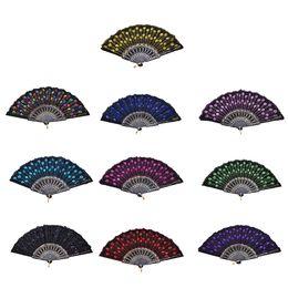 Wholesale Gold Hand Fans - Home Decoration Crafts Vintage Retro Peacock Folding Fan Hand Plastic Lace Dance Fans Hot Sale