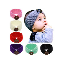 Wholesale Toddler Crochet Headband - Baby Crochet Knitted Head Band With Knit Beanie Toddler Turban With Buttons Ear Warmer For WInter