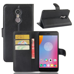 Wholesale Note Card Stands - Case for Lenovo K6 Note Wallet Style Litchi Texture Leather Case for Lenovo K6 Note Flip Cover With Stand Function and Card Slot