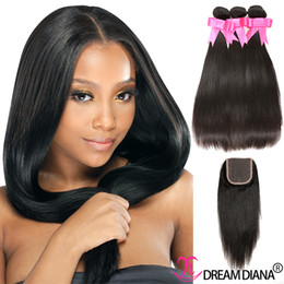 Wholesale Black Hair Bundles - Cheap Weave Bundles Closure Brazilian Straight Virgin Hair 3 Bundles With Lace Closure Remy Human Hair Natural Color Factory Wholesale