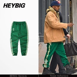 Wholesale Hot Men Sweatpants - Wholesale- Presale on March 31th, Striped trousers 2017 new hot Youth Hip hop pants, calabasas HEYBIG ver. sweatpants Asian size, clothing