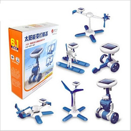 Wholesale Solar Powered Airplane - Wholesale-Solar Power 6 in 1 space fleet Toy Kit DIY Educational Robot airplane boat car Train model student experiment prop kids gift