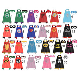Wholesale Star Masks - Gold Hands Kids Superhero Cape and Masks L70 * W70 cm Double sides Satin Capes and Felt masks Great for Kids Cosplay Costumes and Gifts