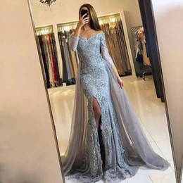 Wholesale Mermaid Style Cocktail Dresses - Free Shipping New Romantic Style Off-Shoulder Split Front Evening Long Dresses With Appliqued Sash Prom Gowns