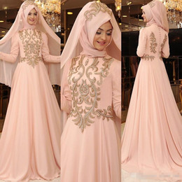 Wholesale Evening One Button Jacket - 2017 Blush Pink Muslim Prom Dresses High Neck Appliques Chiffon Long Sleeves Evening Gowns A Line Back Covered Button Formal Cocktail Wears