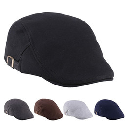 Wholesale Beret Men - Wholesale- Men Women Duckbill Fashion Classic Beret Cabbie Cowboy Flat Hat Golf Driving Cap Store 51
