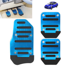 Wholesale Pedal Car Blue - Black & Blue Aluminium Alloy Non-slip Pedal Foot Brake Cover for Cars CDE_410