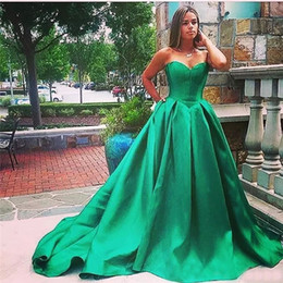 Wholesale Performance Images - New 2017 Sweetheart Evening Dresses Back Zipper A-Line Sweep Train Custom Made Prom Gowns Party Performance Dresses Cheap Hot Sale