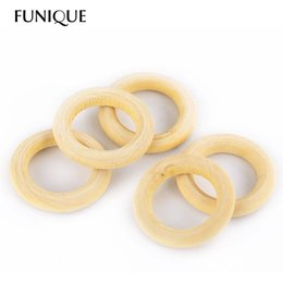Wholesale Wood Pacifier Clip - FUNIQUE 56mm wood teething beads Wooden Beads Baby Teether Ring DIY Pacifier Clip & Kids Jewelry & Toss Games 20PCs