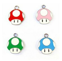 Wholesale Enamel Mushroom Charm - New 10 pcs Cartoon Super Mario Mushroom Head Enamel Metal Charm Pendants, Fashion Key Chain DIY Jewelry Making Accessories Pendant N-17