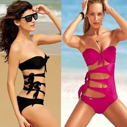Wholesale L Color Wholesale - Sexy nylon bikini adult conjoined S M L swimsuit Woman Rose swimsuits red black no back solid color Ocean Pool