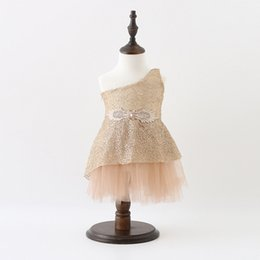 Wholesale Sweeter Wings - Sweet Girls princess dress Children beaded Rhinestone Angel wings sequins tulle dress Kids one-shoulder party dess girls holiday dress A0141
