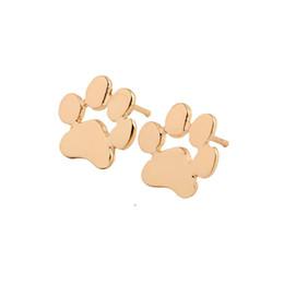 Deutschland Großhandelsneue Art und Weise Goldsilberne Rose Gold überzogene modische Katzen-Hundepfoten-Druck-Ohrringe Einfache Frauen-Mädchen scherzt Ohrring-Bolzen-Schmucksachen Versorgung