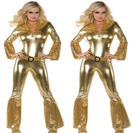 Wholesale Leather Catsuit Long Sleeve - Gold METALLIC effect CATSUIT in shiny wet-look spandex with Long sleeves faux leather latex One Piece cosplay with Belted