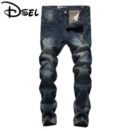 Wholesale light color jeans for men - Wholesale- Designer Men Jeans Vintage Pants Brand Ripped Jeans For Men High Quality Dark Color Distressed Biker Jeans Men Straight Fit