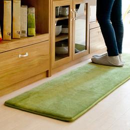 Wholesale Red Kitchen Rugs - Coral Fleece Green Carpet Rugs Absorbent Slip-resistant Vacuum Pad Kitchen Mat Door Bathroom Rug Floor Mats 50*80cm