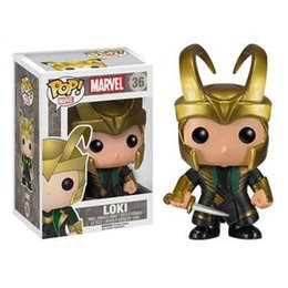 Wholesale Loki Figure - POPOToyFirm FUNKO POP 36# Q Version Thor2 Loki Toys PVC 10cm Anime Figure Action Figure With Gold