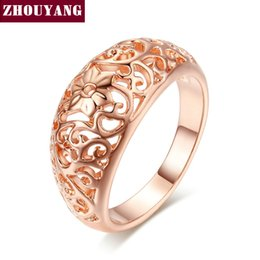 Wholesale Crafts Anniversary - Top Quality Flower Hollowing craft Rose Plated Ring Fashion Jewelry Full Sizes Wholesale ZYR281