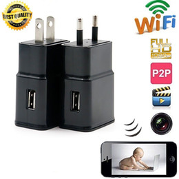 Wholesale Spy Socket Motion - 16GB Wireless 1080P WiFi P2P M2 wall Charger Hidden Camera Motion detection Adaptor WIFI SPY CAM Socket DVR Recorder Home Security monitor
