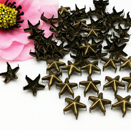 Braccialetto a spillo online-300PCS Ottone 10mm Stella Borchie Punti Punk Nailheads Spikes for Bag Shoes Bracelet
