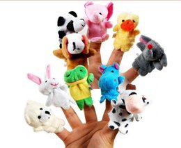Wholesale Pink Stuffed Animals Cartoons - 10pcs set Cartoon Animal Finger Puppet Baby Plush Toys for Children Favor Gift Family Dolls Kids Finger Toy