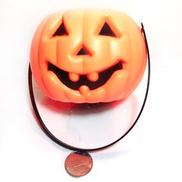 Wholesale Wholesale Toys For Festivals - Romantic Party Plastic Halloween Pumpkin Orange LED O Lantern Light for Festival Home Prop Decoration