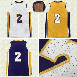 Wholesale Icon Logo - Mens 2018 New #2 Lonzo Ball jersey Association White Icon Gold Statement Purple Shirts 100% Stitched Embroidery Logos Basketball jerseys
