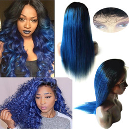 Wholesale Blue Straight Wigs - Brazilian Ombre Silky Straight Glueless Full Lace Human Hair Wigs Black and Dark Blue Lace Front Wigs 130 Density Bleached Knots