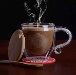 Wholesale Christmas Gift Cups - New Glass Tea Coffee Cups Handmade Starbucks Style Mug for Christmas Gifts (1 Set  Lid+Mug+Cup Mat+Spoon)