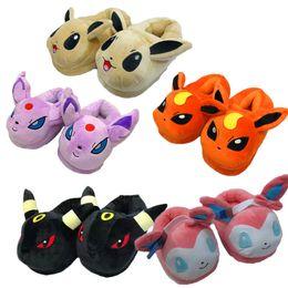Wholesale Slipper Stuffed - Adult Cartoon Poke Pikachu Eevee Sylveon Umbreon Espeon Jolteon Flareon Poke Ball Plush cotton shoes Stuffed Plush slippers Shoes b1506