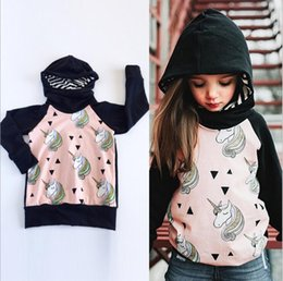 Wholesale Wholesale Branded Sweatshirts - INS Baby Girls Sweater Black Pink Unicorn Pony Printing Long-sleeved Hooded Sweater Hoodie Sweatshirts Autumn Winter Kids Clothing 912