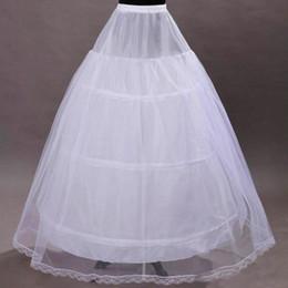 Wholesale Dress Underskirts - 2017 Hot Sale A Line Bridal Crinoline Petticoat Skirt 3 Hoop Petticoat White Underskirts For Wedding Dress Wedding Accessories