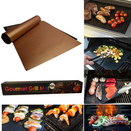 Wholesale Bbq Charcoal Grills - Non-Stick BBQ Grill Mat Thick Durable 33*40CM Gas Grill Barbecue Mat Reusable No Stick BBQ Grill Mat Sheet Picnic BBQ Tools