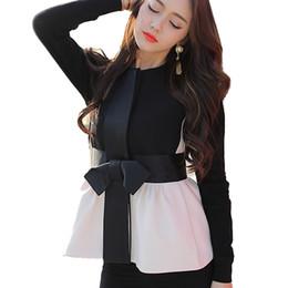 Мода элегантный тонкий жилет женщины без рукавов куртка новая осень ленты лук шаблон пальто жилеты Весте Femme верхняя одежда жилет от
