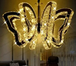Wholesale G4 Led Lamp Indoor - luxury K9 butterfly LED ceiling light modern crystal Pendant lamp For living room lights bedroom restaurant lamp Indoor chandeliers G4 MYY