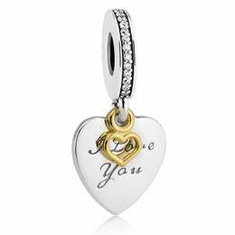 boules de laiton creuses Promotion T'aime pour toujours pendentifs charmes argent sterling S925 2017 correspond pandora bracelets bijoux livraison gratuite H7