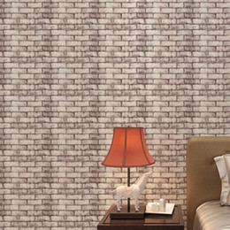 Wholesale Tv Wall Wallpaper - Wholesale-1 Roll 3D Brick Wall Wallpaper Natural Embossed Home Decor TV Background