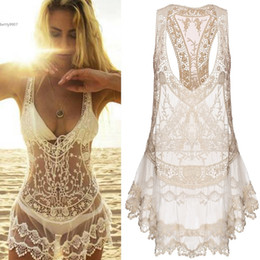 Wholesale Dressing Up Clothes - Women Clothes Bikini Cover Ups Swimwear Sexy Beach Dresses Lace Crochet Summer Mini Dress V Neck Polyester and Lace Bathing Swimsuit