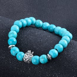 Wholesale Turquoise Stone Jewelry For Men - Bohemia Antique Silver Plated Buddha Monkey Bead Bracelet Trendy Charm turquoise Stone Lava Bracelets For Men Women Pulseras jewelry gift