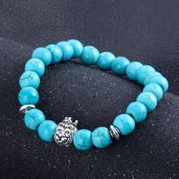 Bohême Antique Argent Plaqué Bouddha Singe Perle Bracelet Branché Charme turquoise Pierre Lava Bracelets Pour Hommes Femmes Pulseras bijoux cadeau ? partir de fabricateur