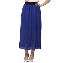 Wholesale Women Skirts Blue Pleated - 2017 New Summer Style Women Skirts Fashion Chiffon Pleated Skirt Elastic Waist Long Skirt For Ladies Beach Clothing 20 Colors SK002