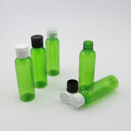 Wholesale Empty Bottles 2oz - 50 x 60ml Empty Green PET Liquied Cream Shampoo Bottle With Flip Top Cap 2oz Plasitc Cosmetic Container