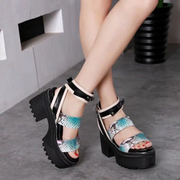 Wholesale Sandals 7cm Heel - Luxury Sexy Womens Sandals Wedge Snakeskin Leather 7CM Thick bottom Casual Lady Female Genuine Heel Shoes