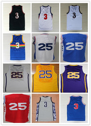 Wholesale Allen Sports - Stitched 3 Allen Iverson 25 Ben Simmons Jerseys Blue Yellow Red White Black Throwback Grey College Sports Jersey Mix Orders