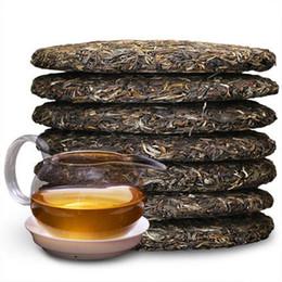 Torte di tè verde online-Preferito grezzo di 357g Pu Er del tè Yunnan antico albero verde torta dell'unità di elaborazione er torta tè verde naturale organico tè di Pu'er