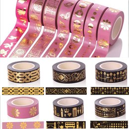 Wholesale Tape Decorative Stickers - 2016 1.5CM*10M various styles Washi Masking Paper Tape DIY Decorative Colorful Sticky Stickers Children Gifts Creative Adhesive Tapes